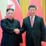 Billedet her er taget i januar 2019, da Nordkoreas leder Kim Jong-un besøgte Kinas præsident, Xi Jinping, i Beijing.