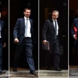 Her er fire midaldrende mænd, og dermed var det sikkert inden afstemningen i dag, at briterne vil få en midaldrende mand som næste premierminister. Nu er endnu én af kandidaterne røget i svinget. Fra venstre Sajiv Javid; Jeremy Hunt; Michael Gove og Boris Johnson.