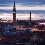 Udsigt fra Rundetårn over Københavns tage og tårne.