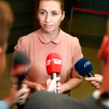 Mette Frederiksen fra Socialdemokratiet efter dagens regeringsforhandlinger i Landstingssalen på Christiansborg.
