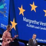 Margrethe Vestager deltog i maj i en debat mellem såkaldte »Spitzenkandidaten«. Det var Europa-Parlamentet, som organiserede debatten – dog uden at opnå mange seere. I Danmark sendte ingen af de store TV-kanaler debatten, men den blev streamet på bl.a. dr.dk og tv2.dk. Foto: Ritzau/Scanpix/AFP