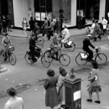 Fra arkivet: Trafikeret gadekryds i København.