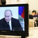 Vladimir Putin blev interviewet af Financial Times i Moskva 27. juni 2019. Da han blev spurgt til Syrien, kunne han ikke undertrykke et hoverende smil. »Jeg mener, at vi har opnået et positivt udbytte,« svarede den russiske præsident. Foto: Kremls pressetjeneste