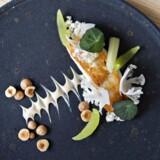 Stegt pighvar serveres med blomkål og ristede hasselnødder.