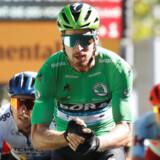 Peter Sagan hamrede en knyttet højre hånd ind i den venstre, efter at han var kommet i mål som sejrherre på 5. etape. Den tredobbelte verdensmester har ellers haft en sæson med en usædvanlig sejrstørke. REUTERS/Christian Hartmann