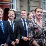 Statsminister Mette Frederiksen præsenterede i juni sin nye S-regering på Amalienborg. Bag hende ses (fra venstre) finansminister Nicolai Wammen, udenrigsminister Jeppe Kofod og skatteminister Morten Bødskov, der alle har fået sæde i regeringens magtfulde udvalg.