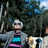Skovfoged Peter Søland på tur med pensionister i Rude skov nær Birkerød.
