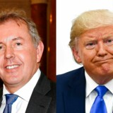 "(COMBO) This combination of pictures created on July 10, 2019 shows British Ambassador Kim Darroch (L) at The British Embassy on January 18, 2017 in Washington, DC. And US President Donald Trump on the sidelines of the G20 Summit in Osaka on June 29, 2019. Britain's ambassador to Washington resigned on July 10, 2019 after being targeted by US President Donald Trump over the leak of highly critical diplomatic cables that put the allies' relationship on edge. - Outgoing Prime Minister Theresa May had offered her support to Kim Darroch after it was revealed he described the Trump administration as ""inept"". (Photos by Paul Morigi and Brendan Smialowski / various sources / AFP)"