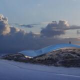 Det af Bjarke Ingels og BIG tegnede »Lycium«, som det tager sig ud set fra den vej ved Fanø Bad, der fører ud til stranden på øens vestkyst.