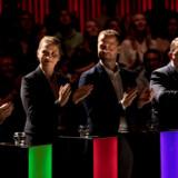 Søren Pape Poulsen, Mette Frederiksen, Morten Østergaard og Lars Løkke Rasmussen under partilederrunden op til folketingsvalget i juni.