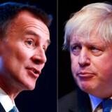 Alle meningsmålinger forudsiger, at Jeremy Hunt (tv) bliver slået af Boris Johnson, som efter al sandsynlighed blive ny britisk premierminister.