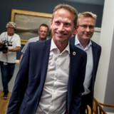 Kristian Jensen og Jacob Jensen på vej til Venstres gruppemøde på Christiansborg i København, mandag den 5. august 2019.