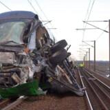 Et IC4-tog fra Aarhus kolliderede tidligt om morgenen den 2. januar 2019 med en sættevogn – en lastvognstrailer på hjul, der her ses tydeligt på billedet – der delvist havde revet sig løs fra en godsvogn.