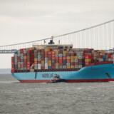 Et containerskib fra Mærsk på vej ind i havnen i New York. Den danske eksport til USA er steget kraftigt i årets første seks måneder.