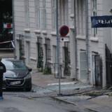 Polititeknikere arbejder foran nærpolitistationen i Hermodsgade i København, tidlige lørdag morgen den 10. august 2019. En eksplosion ramte nærpolitistationen i Hermodsgade natten mellem fredag og lørdag.. (Foto: Presse-fotos.dk/Ritzau Scanpix)