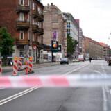 Afspærring efter eksplosion ved nærpolitistationen på Hermodsgade på Nørrebro i København lørdag den 10. august 2019. Foto: Philip Davali