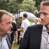 Lars Løkke Rasmussen og Kristian Jensen efter pressemødet i forbindelse med Venstres sommergruppemøde på Kragerup Gods ved Ruds Vedby, fredag den 9. august 2019.