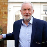 epa07796753 Leader of the British Labour Party Jeremy Corbyn leaves his home in central London, Britain, 27 August 2019. Mr Corbyn is due to host cross party talks later in the day to discuss plans to avert a no-deal Brexit. EPA/WILL OLIVER