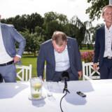 Jakob Ellemann-Jensen, Lars Løkke Rasmussen og Kristian Jensen ved Venstres pressemøde i forbindelse med sommergruppemødet på Kragerup Gods ved Ruds Vedby 9. august.