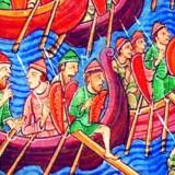 En vikingeflåde angriber. Engelsk miniature fra 1100-tallet. Illustration fra bogen.