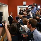 Jakob Ellemann-Jensen møder pressen efter Venstres gruppemøde tirsdag på Christiasnborg.