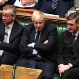 De konservative Brexit-fortalere, her fra venstre Michael Gove, Boris Johnson og Jacob Rees-Mogg, har nu taget fuld kontrol over det konservative parti efter at have udrenset fremtrædende modstandere af no deal-Brexit fra partiet sent tirsdag aften.