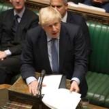 Efter sit nederlag i Underhuset onsdag, fremsatte Boris Johnson et forslag om et nyvalg den 15. oktober. Men det afviste Underhuset. (Photo by JESSICA TAYLOR / various sources / AFP)