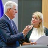 EUs chefforhandler Michel Barnier sammen med Mina Andreeva.