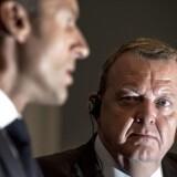 Den franske præsident Emmanuel Macron til pressemøde med fhv. statsminister Lars Løkke Rasmussen i forbindelse med den franske præsidents officielle statsbesøg i København.
