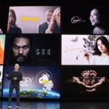 Apple-topchef Tim Cook præsenterede tirsdag aften den kommende streamingtjeneste Apple TV+, der får premiere 1. november. Foto fra Apples præsentation