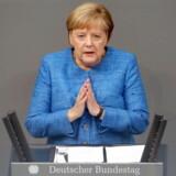 Den tyske forbundskansler, Angela Merkel, i en tale i Forbundsdagen onsdag d. 11 september.