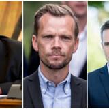 Per Clausen (EL), Peter Hummelgaard (S) og Rasmus Jarlov (K). Fotograferet af henholdsvis Nils Meilvang, Mads Claus Rasmussen og Niels Christian Vilmann. Alle for Ritzau Scanpix.