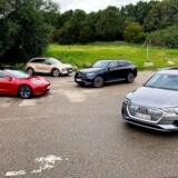 Danmarks fire bedste elbiler lige nu: Tesla Model 3, Hyundai Nexo, Mercedes EQC og Audi e-tron.