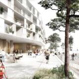 Området foran de nye boliger i Nordhavn bliver et aktivitetsområde, hvor man kan gå i vandet eller sejle en tur fra.