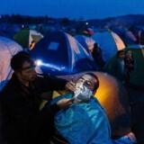 En syrisk frisør barberer skægget af en kunde i en flygtningelejr nær den græsk-makedonske grænse.