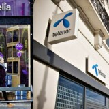 Den planlagte sammenlægning af Telia og Telenor vil betyde, at de to selskaber kan dele regningen. Det vil dog også med vished betyde, at nogle af telebutikkerne lukker, og at der skal ske fyringer i de to danske organisationer. Arkivfoto: Nils Meilvang, Scanpix, og Telenor