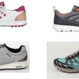Til venstre ses et par eksempler fra Ecco på de sko, som ifølge Adidas krænker deres varemærke med de tre striber. Foto: Søgsmål mod Ecco.