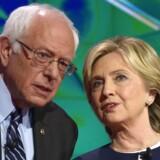De demokratiske topkandidater Bernie Sanders og Hillary Clinton.