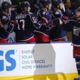 Columbus Blue Jackets' Oliver Bjorkstrand kom igen på måltavlen i NHL. Scanpix/Russell Labounty