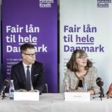Pressemøde i Nykredit. Fra venstre mod højre koncernchef Michael Rasmussen, Steffen Kragh, Nina Smith og Louise Mogensen.