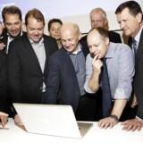 Niels Zibrandtsen (i midten) og hans virksomhed Global Connect har vundet Entrepreneur of the Year på sjælland. Virksomheder leverer fibernet og telekommunikation.