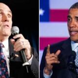 New Yorks tidligere borgmester Rudy Giuliani /tv) satte sig i spidsen for de voldsomme personangreb fra højrefløjen, da han for nylig beskyldte præsident Obama (th) for ikke at være amerikansk nok.