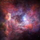 En kunstnerisk fortolkning af en af de første galakser i de næsten helt nydannede univers.