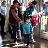 Flygtninge ankommer til Rødby Færge.