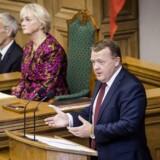 Statsminister Lars Løkke Rasmussen (V) under sin åbningstale tirsdag i Folketinget. Foto: Thomas Lekfeldt