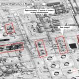 Foto fra amerikansk militærsatellit, der viser skader efter lørdagens droneangreb på de saudiske olieanlæg i Buqyaq. Felterne producerer normal 5,7 mio. tønder råolie om dagen.