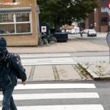 Ved denne fodgængerovergang ville Tagensbo Skole gerne have skolepatrujle. Men trafikken på Frederiksborgvej er for farlig, vurderer skolen.