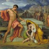 »Pyrrhus og Andromache ved Hektors grav« hedder dette popøse billede af J.L. Lund med et motiv hentet fra antikken. Det blev malet som erstatning for et billede med en tilsvarende mytologisk fortælling. Maleriet blev sendt fra Rom til København med skib, der med englændernes velsignelse blev opbragt af sørøvere – og forsvandt i 100 år.