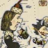 Man har igennem historien også lavet satiriske og politiske kort. Her et britisk kort fra 1869, efter vi havde tabt krigen i 1864. Kortet gør grin med det lille Danmark, og landsdelene er blevet til mennesker og dyr. Illustration fra bogen.