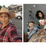 Politiet fandt bl.a. disse billeder i bandens mobiltelefoner – af bossens kone, Florina Spiru, som poserer med de stjålne penge og iklædt de stjålne smykker og ure foran en sort BMW M3.
